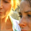 gloss: two women in profile against setting sun (Lost: Juliet/Kate - nothing grows right )