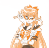 sporky_rat: Sailor V in orange hue wearing her trademark mask (more sailor v)