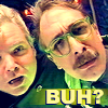 "arethinn: MST3K's mad scientists looking confused, text ""buh?"" (confused (mads buh))"