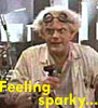 "crossover_chick: Doc in goggles and holding a big old plug with the words ""feeling sparky..."" (BTTF: feeling sparky/creative)"