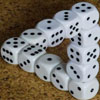 jazzfish: d6s stacked in an Escheresque triangle (Head-hurty dice)