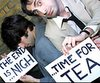 jazzfish: Two guys with signs: THE END IS NIGH. . . time for tea. (time for tea)
