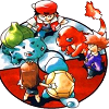 guardians_song: Ken Sugimori's concept art of the Pokemon starters, with the main characters and rival beside them. (kicking it oldschool)