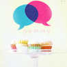 mercredigirl: Afternoon tea captioned 'yummy' with a pink and a blue speech bubble overhead. (speech bubbles (pink and blue))