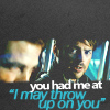 "kiki_eng: Bones and Jim on the shuttle, text: ""you had me at 'I may throw up on you'"" (Star Trek 2009) (you had me at ""I may throw up on you"")"