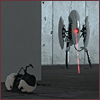 red_eft: a turret from the game Portal, with the portal gun beside it (target lost)