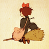 laceblade: Shot of Kiki from behind, flying on her broomstick with Jiji (Kiki)