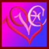 ilyena_sylph: the letters L O V E rearranged into a heart on a pink and blue gradient background (art: love)