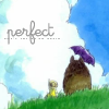 "kiki_eng: Totoro holds purple umbrella and sits with child on hill, apparently observing clouds.  Cursive text: ""perfect"" (perfect)"