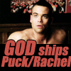 "druidspell: GLEE: Noah Puckerman in bed. ""GOD ships Puck/Rachel"" (OTP)"