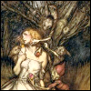 "pameladlloyd: An illustration to Christina Georgina Rossetti's ""Goblin Market"" by the amazing artist Arthur Rackham (goblin market)"