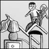 labellementeuse: a picture of two small children standing on top of a pile of furniture (fish chaircastle!)