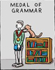 the_shoshanna: cartoon of a cat awarding a grammar medal (grammar medal)