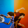 radioactivepiss: Zuko and Katara of Avatar back to back ([Zuko/Katara] dichromatic)