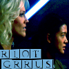 futuransky: Six and Eight from BSG with the phrase RIOY GRRLS (riot cylons)