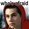 mecurtin: Stiles in a red hood, saying Who's Afraid (stiles)