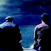 auburn: John and Rodney sitting on pier at night (On the Pier)
