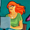 labellementeuse: an icon of Barbara Gordon with her laptop on her lap (comics babs is aspiring)