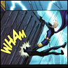 labellementeuse: Steph using her feet to slam Catwoman into a wall with text saying WHAM (comics steph wham)