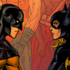 labellementeuse: Batgirl!Steph and Red Robin!Tim face each other. The background is a panel of Steph as Spoiler and Tim as Robin together (comics steph/tim otp!)