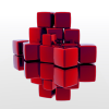 cxcvi: Red cubes, sitting on a reflective surface, with a white background (Default)