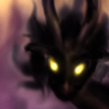 "tangyabominy: An image of a shadowy ""anti-dragon"" with glowing yellow eyes, against a background of magical cities. (you dare bring light into my lair?, antiform)"