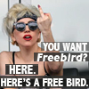"very_improbable: Lady Gaga flipping the bird; caption: ""You want 'Freebird'? Here. Here's a free bird."" (free bird)"