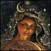 tvillingar: a goddess wearing moon and stars in her hair (goddess)