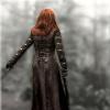 auburn: Teyla in long coat in a foggy forest (Teyla in the Rain)