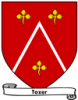 klkellick: Gules, a chevron argent, accompanied by three trefoils or (tozer)