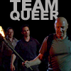 """very_improbable: Locke, Richard and Ben with the text """"Team Queer"""" (team queer)"""