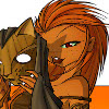 death_gone_mad: Drawing of a tan skinned red-headed woman holding a wooden cat mask (cat mask)
