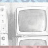 thirdmonday: Black and white picture of TV sets bordered by red and blue (Default)