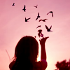 nicole4: a girl releasing birds from her hands. (soothing melodies)