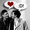rusty_halo: dean and castiel adore each other (spn: dean/castiel: crush (heart/grin))