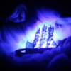 rising: a figure bending over a ship that seems to glow (the cadre: blueship)