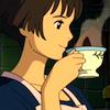 omens: Lisa drinking tea [from Ponyo] (Ponyo - Lisa/tea)