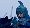 lo_rez: Hua Mu Lan in full armor, with helmet, a-horse and looking over her shouder (Hua Mu Lan)