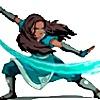 lo_rez: manga image of Katara from Avatar in a waterbending stance (Katara waterbender)