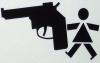 the_shoshanna: block-outline image of little girl with HUGE pistol (girl with gun)
