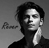 isagel: Stéphane Lambiel, gazing dreamily into the distance, a b/w shot like an old-fashioned movie star, with the text 'Rêver'. (fs stéphane rêver)