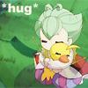 "rymenhild: A small cuddly puppet hugs an even smaller and cuddlier Duck. Caption: ""*hug*"". (Tutu: hug)"