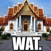 "littlemousling: Photo of a Thai Wat with ""Wat."" written underneath. (wat)"