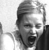 la_dissonance: grainy black and white photo of a woman making a silly face (Default)