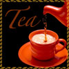 chomiji: A teacup being filled from a teapot, with the caption Tea (Tea)