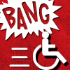 "cripbigbang: A comic book-style ""BANG"" explodes in the background while the universal access symbol speeds away. (Default)"