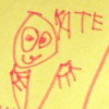 """kate_nepveu: preschooler's line drawing of person's face and hands with """"KATE"""" written to side (me (portrait by SteelyKid 2012-11))"""