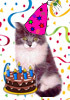 the_shoshanna: kitty icon with cake, hat, and streamers (birthday kitty)