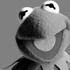 amadi: A black and white photo of Kermit the Frog, smiling (Kermit)