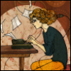 smwrites: A woman sits at a typewriter, pages flying, a plug in the back of her awesomely big-curly hair. (Default)